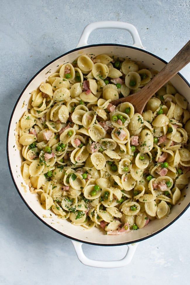 overhead photo of a pan with Pancetta Pasta with Peas