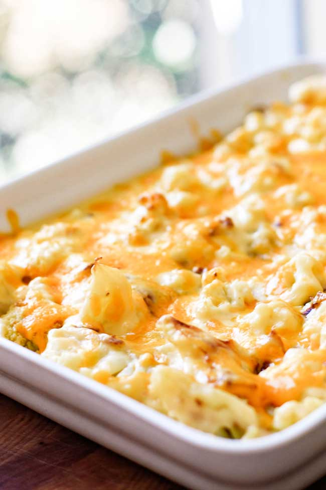 Roasted Cauliflower Gratin made with a rich and creamy bechamel sauce