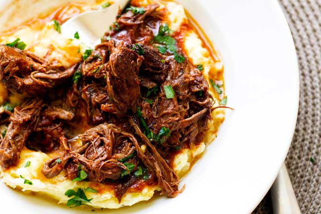 Short rib ragu on mashed potatoes