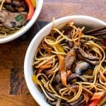 overhead photo of beef and veggie noodle bowl