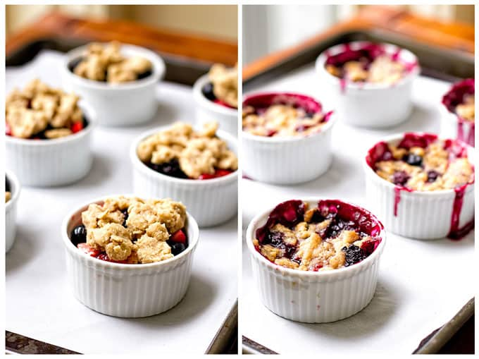 berry crumbles on a sheet pan before and after they are baked