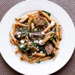 Steak & Spinach Pasta | girlgonegourmet.com