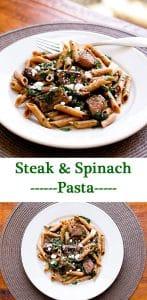 Steak & Spinach Pasta | girlgonegourmet.com