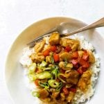 photo of orange chicken with text overlay