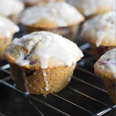 Raspberry Muffins with a Simple Lemon Glaze