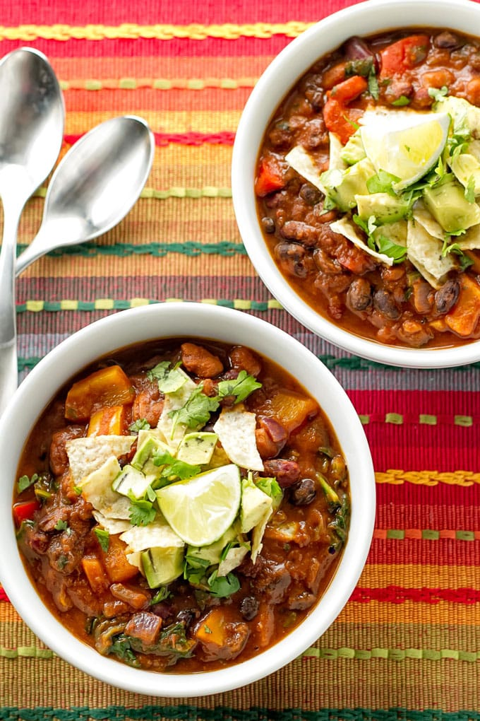 overhead photo of two bowls of chili