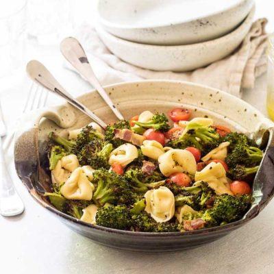 Tortellini Pasta Salad with Bacon Roasted Broccoli