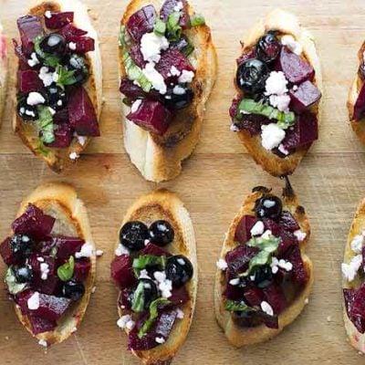 Beet & Blueberry Bruschetta