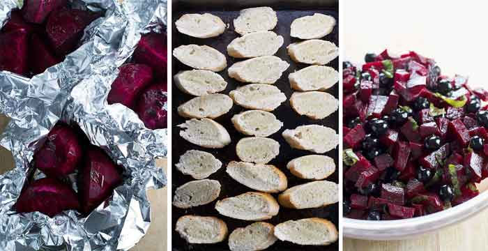 How to make beet and blueberry bruschetta photo collage