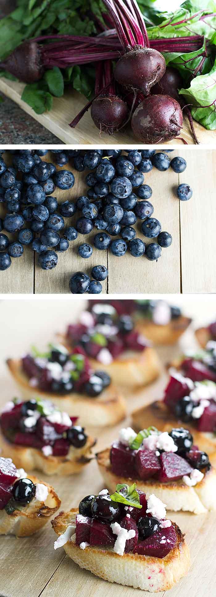 Beet and Blueberry Bruschetta   girlgonegourmet.com