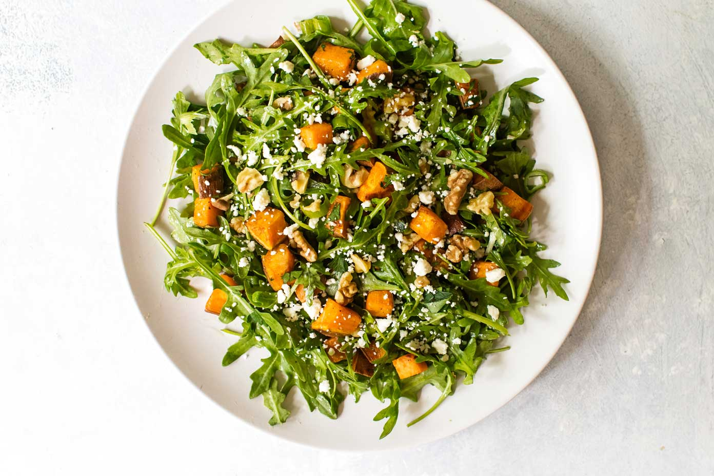 Roasted Sweet Potato And Arugula Salad Girl Gone Gourmet