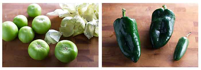 photo collage of tomatillos, poblano peppers, and jalapeno