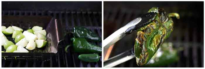 photo collage showing the ingredients on a grill and a close-up of the charred pepper
