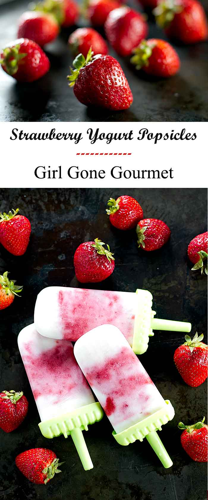 Simple greek yogurt and strawberry popsicles - a perfect treat for a hot summer day | girlgonegourmet.com
