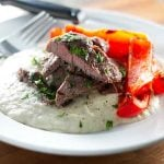 Grilled Steak with Eggplant Puree | girlgonegourmet.com