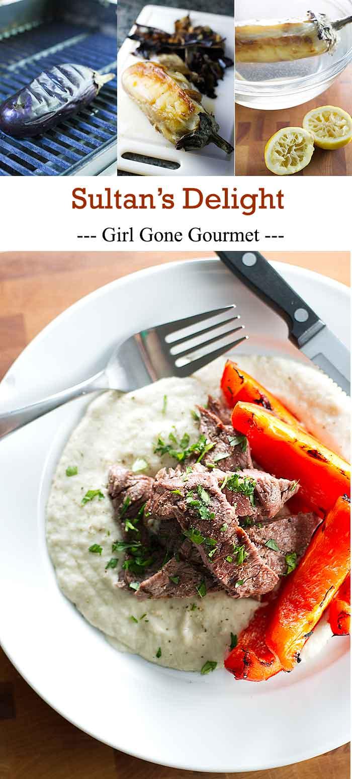 Grilled steak over velvety smooth eggplant puree | girlgonegourmet.com