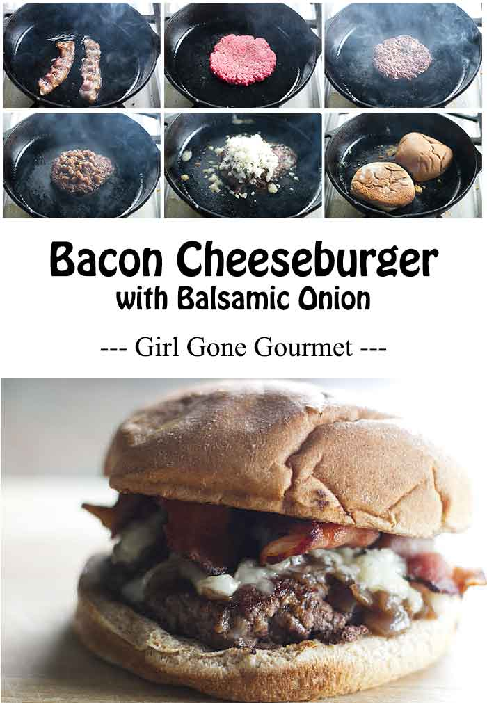 A juicy bacon cheeseburger with balsamic onions | girlgonegourmet.com #sponsored