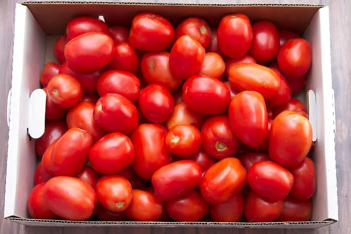 a box of farmer's market roma tomatoes