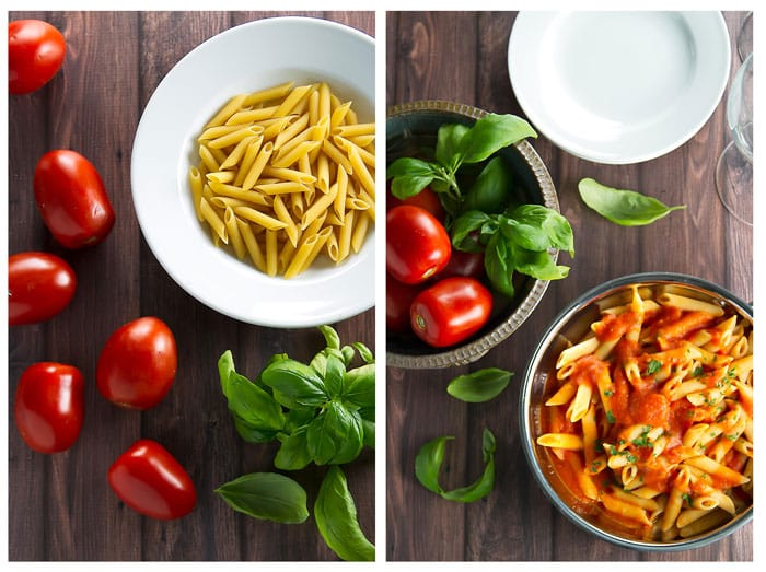 photo collage with a bowl of uncooked pasta next to a photo with a skillet of penne al pomodoro