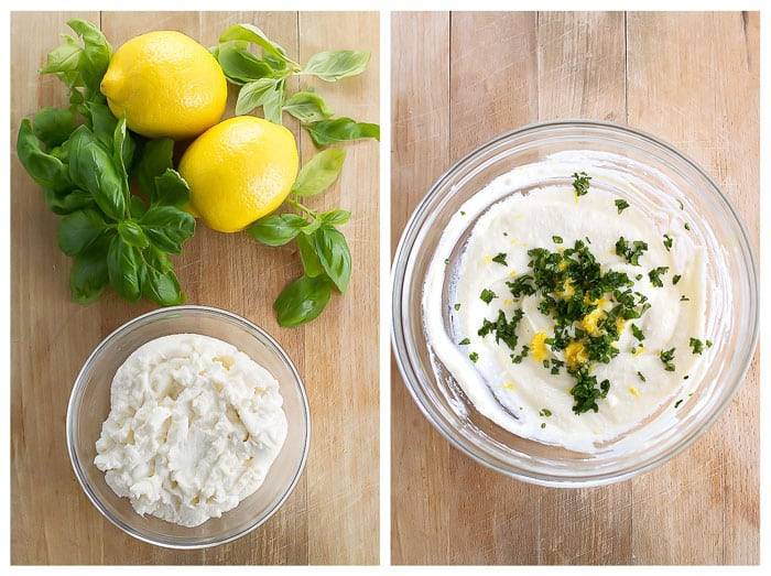 ricotta filling with lemon and basil photo collage