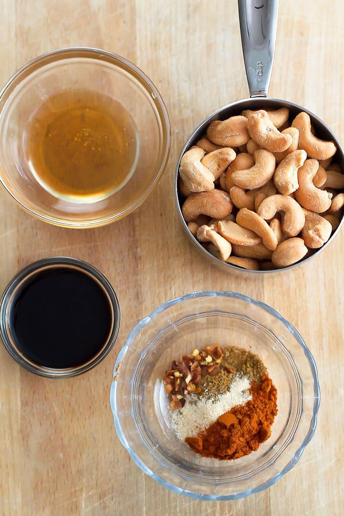 Ingredients for making sweet and smokey cashews