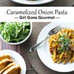 caramelized onion pasta photo collage