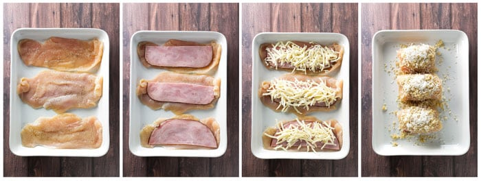step by step process to make chicken cordon bleu roll-ups