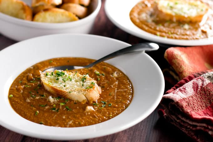 Chickpea Soup with Parmesan Crostini | girlgonegourmet.com
