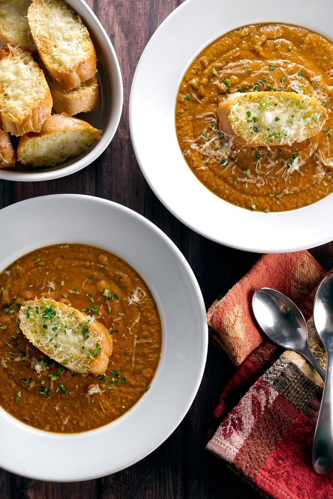 Chickpea Soup with Parmesan Crostini | Girl Gone Gourmet