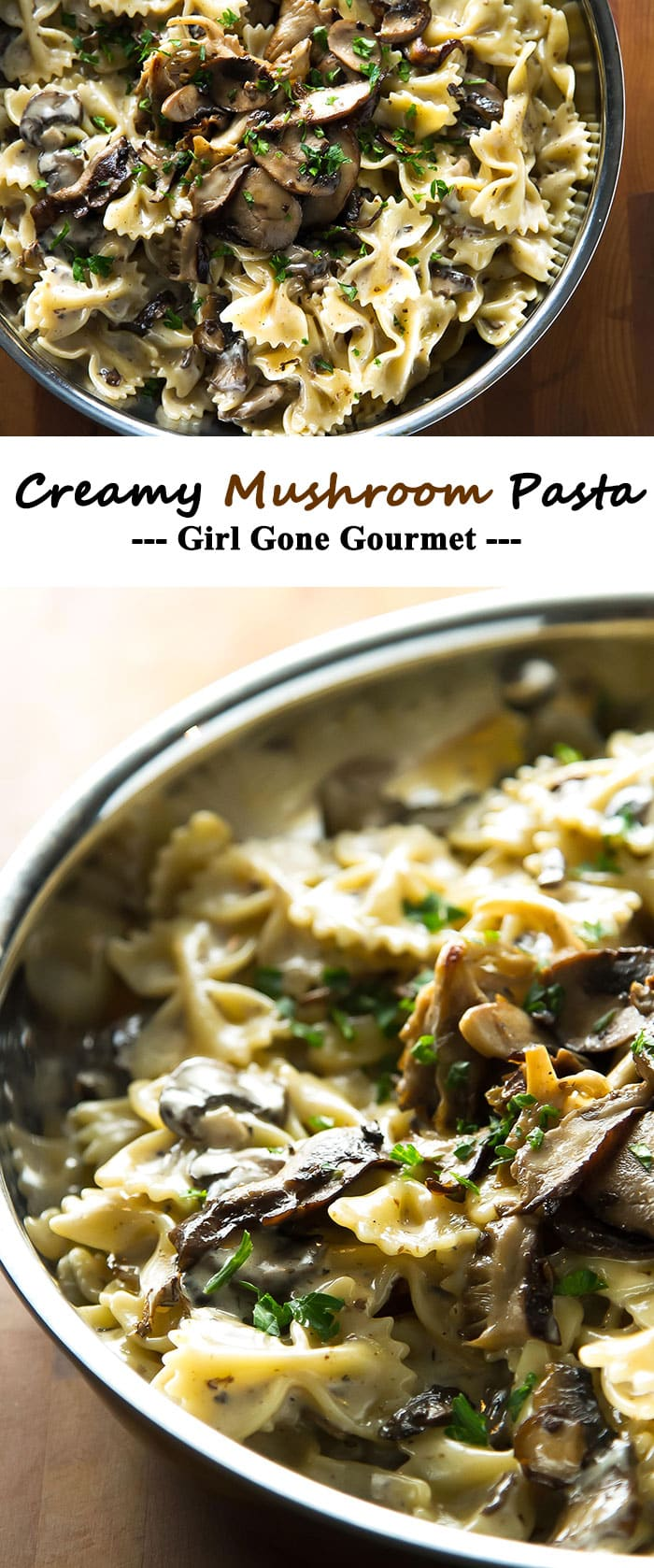 This creamy mushroom pasta takes only 30 minutes to make! | girlgonegourmet.com