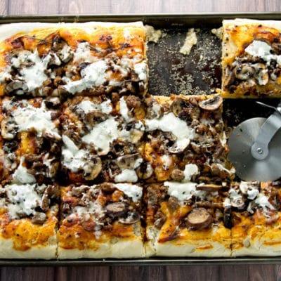 Sausage and Mushroom Focaccia Pizza