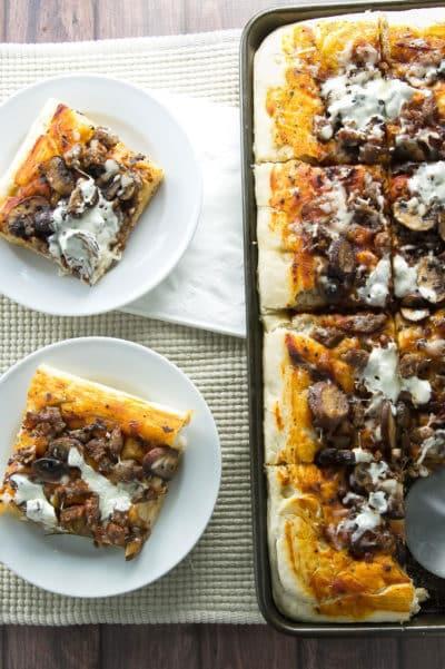 Sausage and Mushroom Focaccia Pizza   girlgonegourmet.com