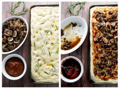 Sausage and Mushroom Focaccia Pizza } girlgonegourmet.com