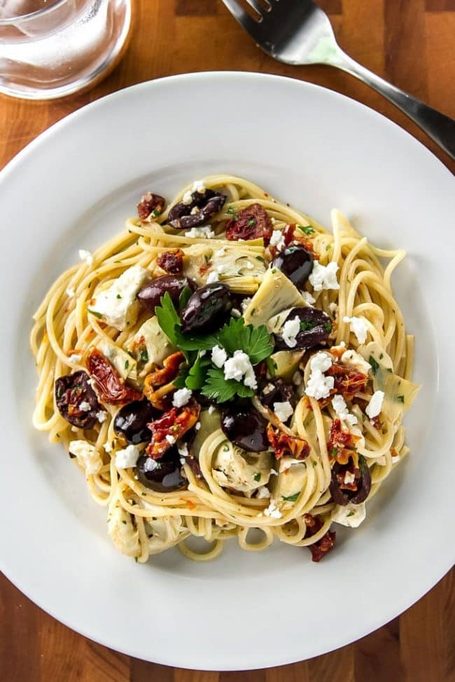 one serving of Mediterranean pasta on a plate