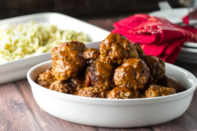 Braised Meatballs with Buttered Noodles | girlgonegourmet.com