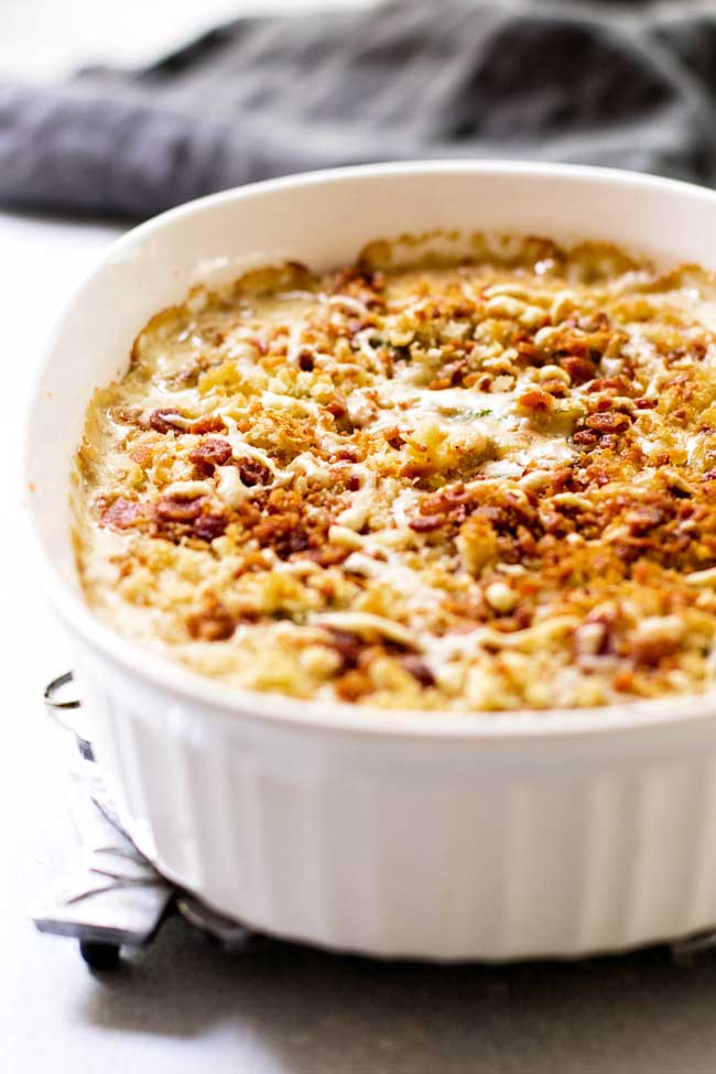 Brussels Sprouts Gratin with a Crispy Breadcrumb Topping
