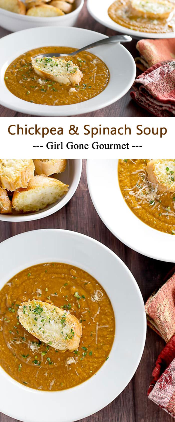 This soup takes only 30 minutes - including the parmesan crostini! It's warming and so delicious | girlgonegourmet.com
