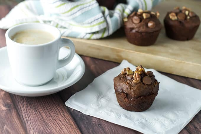 photo of a chocolate muffins with a cup of coffee