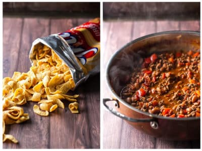 A bag of Fritos and a skillet with homemade chili