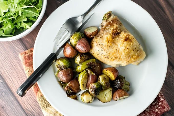 One Pan Roasted Chicken and Veggies | girlgonegourmet.com