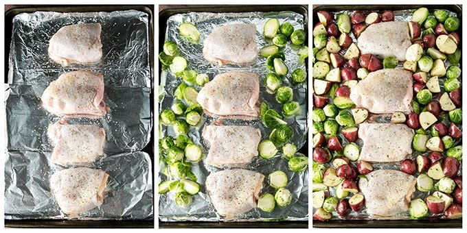 photo collage showing how to place the chicken, potatoes and brussels sprouts on the baking sheet