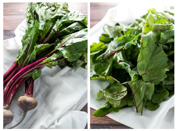 Photo collage of fresh beets and greens