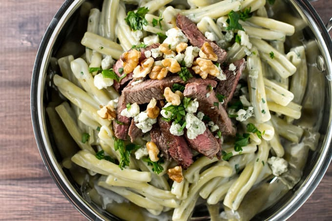 Blue Cheese Pasta with Steak in a skillet
