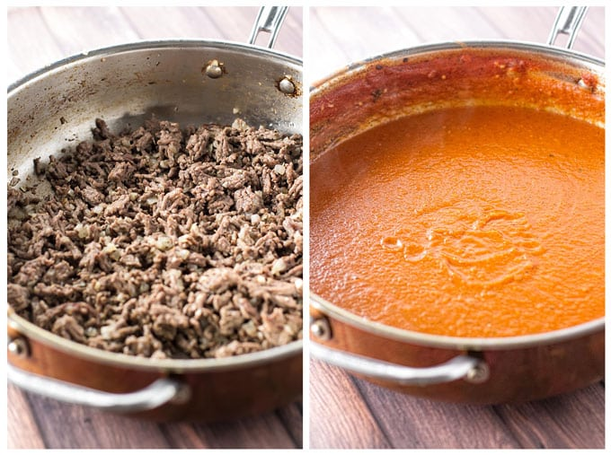 Photo collage with cooked beef in a skillet and tomato sauce in a skillet