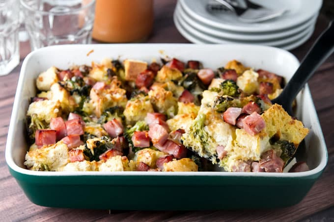 photo of a breakfast casserole with ham and broccoli