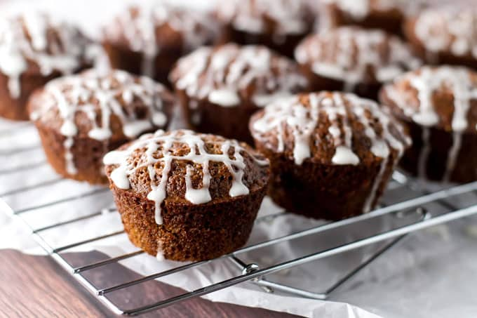 photo of gingerbread muffins on a baking rack