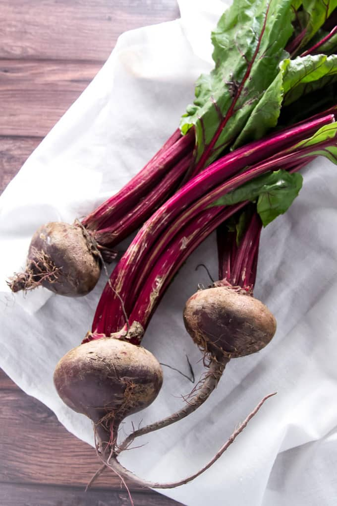 beets on a white napkin