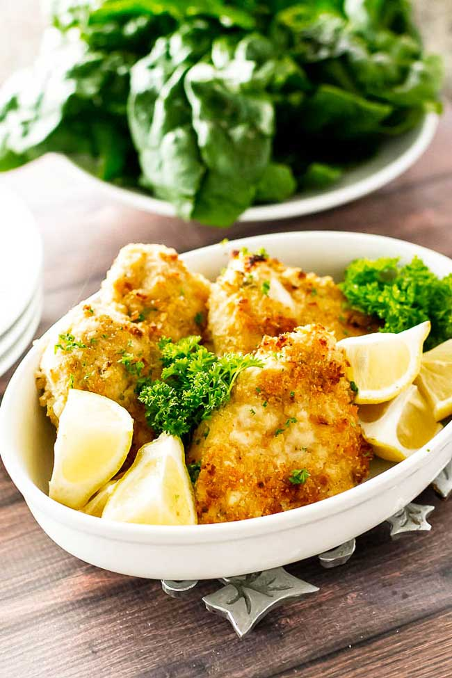 photo of breaded baked chicken in a dish