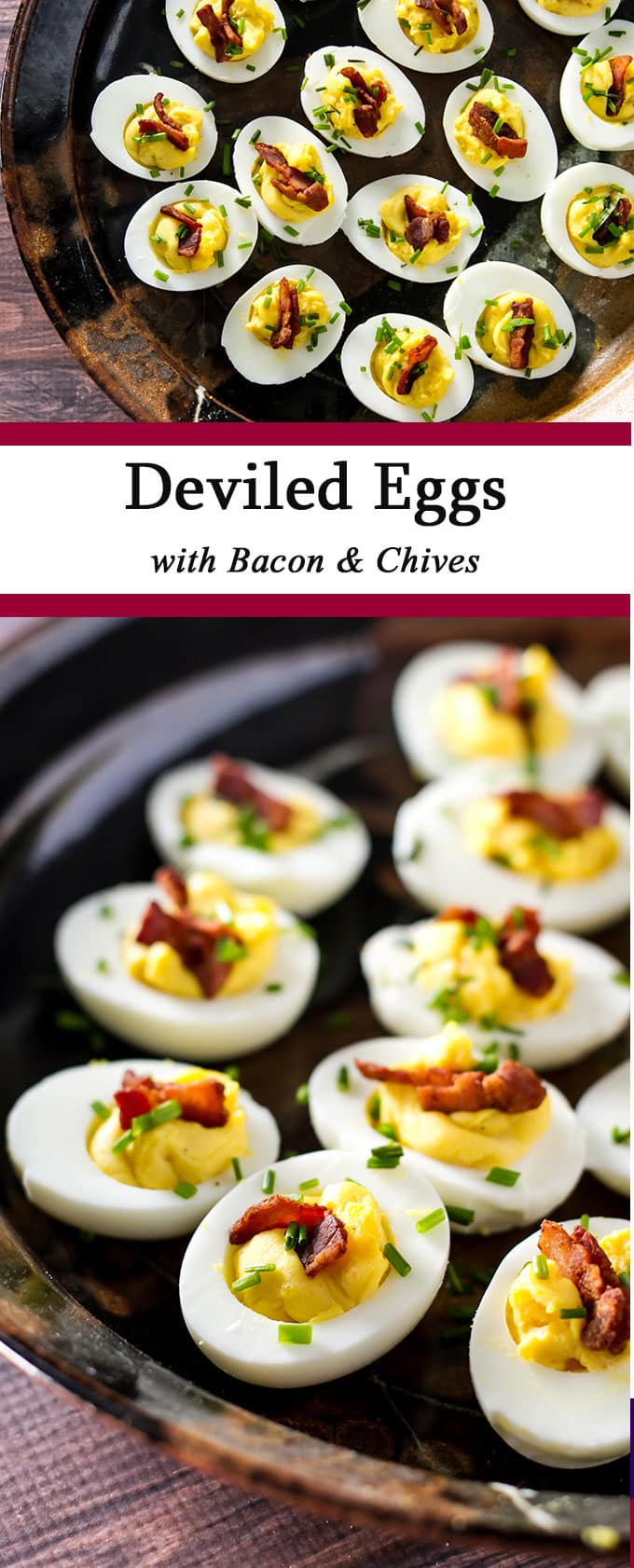 Deviled eggs are always a favorite appetizer. These creamy deviled eggs are topped with crispy bacon and fresh chives - they are sure to disappear fast