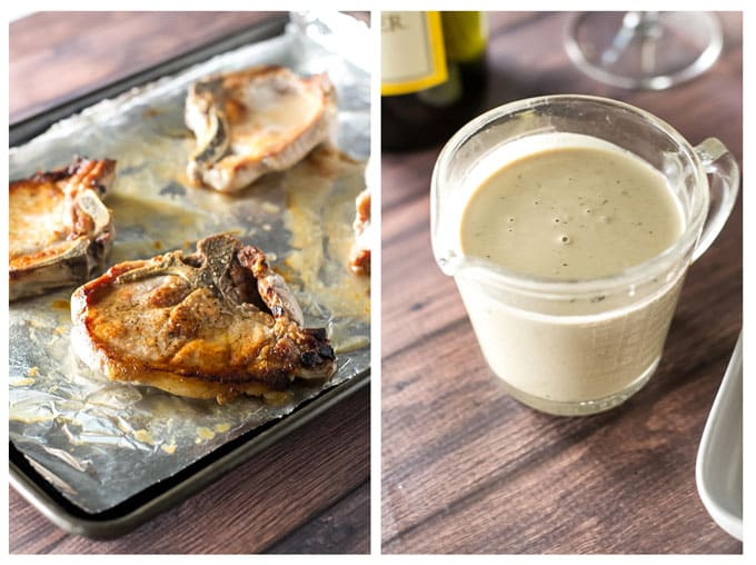 photo collage of roasted pork chops and a container of mustard sauce